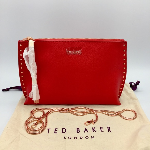 Ted Baker Tessa Red Leather Crossbody Clutch Bag